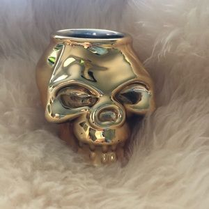 💀 Z Gallerie Gold Skull Candle